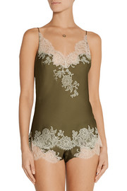 Carine Gilson Sonia lace-trimmed silk-satin camisole