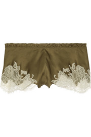 Sonia lace-trimmed silk-satin shorts