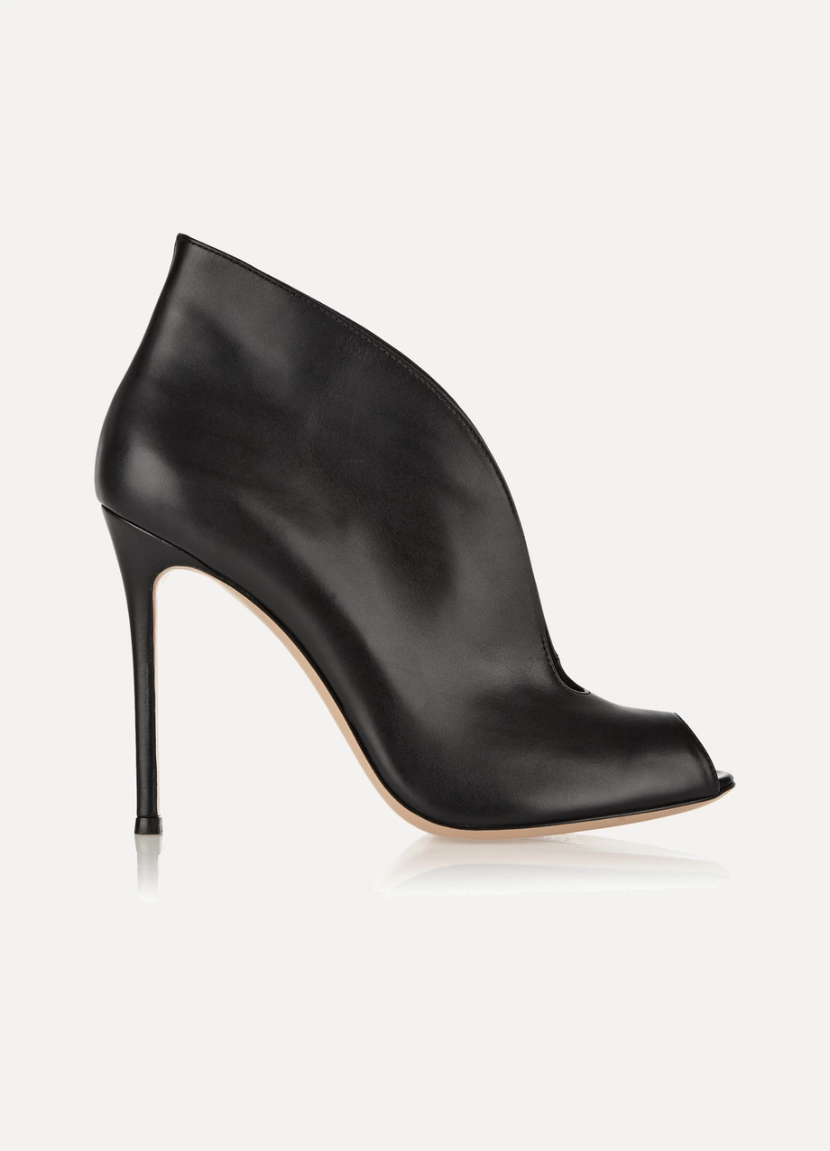 Gianvito Rossi Vamp 105 Leather Ankle Boots, Black, Women's US Size: 11.5, Size: 42