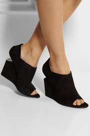 Alexander Wang Alla cutout-heel suede wedge ankle boots