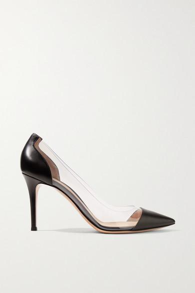 gianvito rossi female 188971 gianvito rossi leather and pvc pumps black
