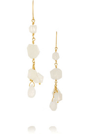 18-karat gold moonstone earrings