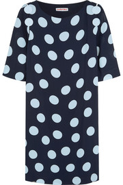 Polka-dot crepe de chine mini dress