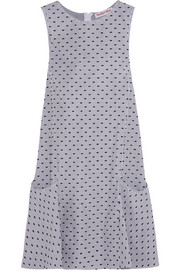 Swiss-dot striped cotton-poplin mini dress