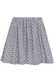 Cotton-poplin fil coupé mini skirt