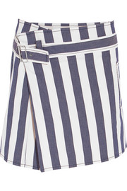 Striped stretch-denim mini skirt