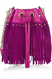 Disco fringed suede and leather shoulder bag