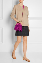 Diane von Furstenberg Disco fringed suede and leather shoulder bag