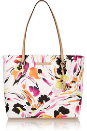 Ready To Go leather-trimmed printed faux leather tote