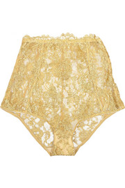 Rhapsody metallic lace briefs