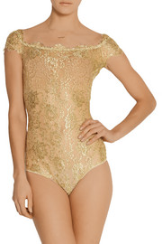 Rhapsody metallic lace bodysuit