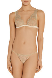 Champagne At Breakfast lace soft-cup triangle bra