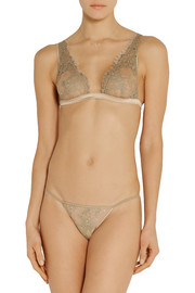 Champagne At Breakfast embellished lace thong