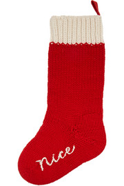 Banjo & Matilda Naughty And Nice embroidered silk-blend stocking