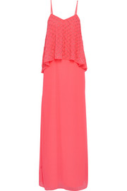 Tiered embellished chiffon maxi dress