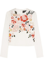 Trailing Floral embellished chiffon top