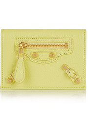 Studded textured-leather cardholder