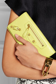 Studded textured-leather wallet