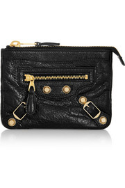 Studded textured-leather pouch