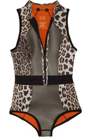 Action Tank leopard-print neoprene swimsuit