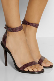 Tibi Amber snake-effect leather sandals