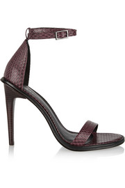 Amber snake-effect leather sandals