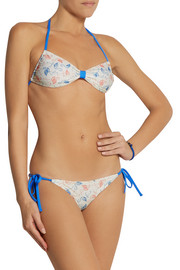 Solid and Striped + Poppy Delevingne printed halterneck bikini