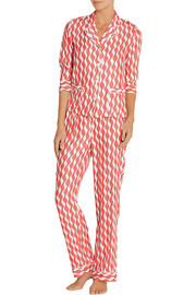 George and Frantz printed silk-satin pajama set