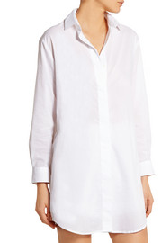 Marilyn lace-insert cotton-poplin nightshirt