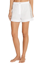 Fred lace-insert cotton-poplin shorts