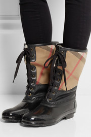 Burberry Shoes & Accessories Shearling-lined checked cotton-twill and rubber boots