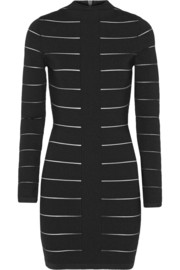 Balmain Mesh-trimmed stretch-knit mini dress