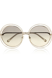 Carlina oversized round-frame stainless steel sunglasses