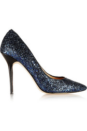 Lucy Choi London Adelite glitter-finished leather pumps