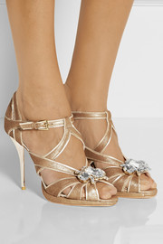 Lucy Choi London Cannes embellished metallic suede sandals