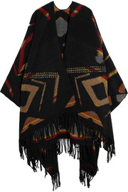 Finds + Kiboots reversible intarsia wool-blend poncho