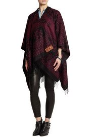Finds + Kiboots reversible intarsia-knit poncho