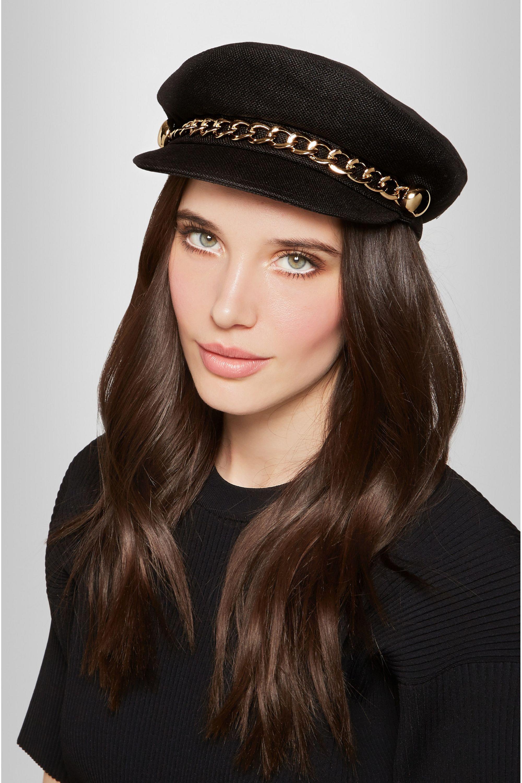 Eugenia Kim Marina chain-embellished linen flat cap