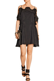Addition crochet-trimmed cotton and silk-blend poplin mini dress