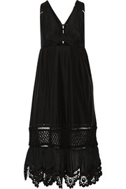 Cutout crochet-trimmed cotton and silk-blend midi dress