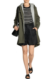 Addition convertible washed cotton-twill coat