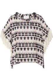 Fringed hooded cotton-blend tweed top