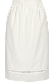 Cotton-jacquard midi skirt