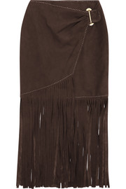 Tamara Mellon Fringed suede wrap skirt