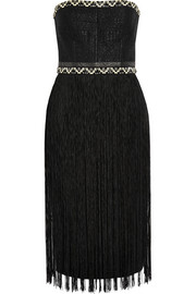 Fringed woven and crepe dress