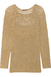 Open-knit metallic sweater
