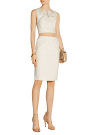 Stretch cotton-blend cady pencil skirt