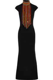 Tamara Mellon Embellished silk crepe de chine gown