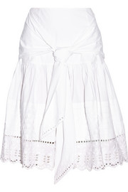 Broderie anglaise-paneled stretch-cotton poplin skirt
