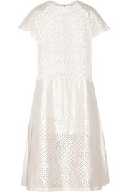 Broderie anglaise and eyelet cotton-blend midi dress